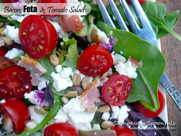 Bacon Feta & Tomato Salad ~ Sumptuous Spoonfuls #salad #recipe