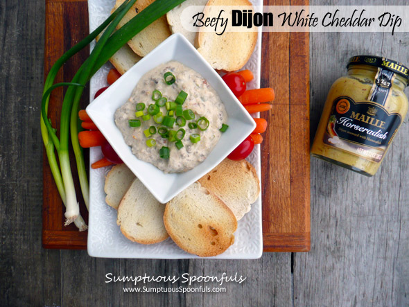 Beefy Dijon White Cheddar Dip ~ #easy #meat #dip #recipe from Sumptuous Spoonfuls
