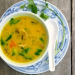 Coconut Chicken Stirfry Soup ~ Sumptuous Spoonfuls #soup #recipe