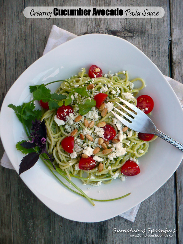 Creamy Cucumber Avocado Pasta Sauce ~ super simple sauce that tastes ...