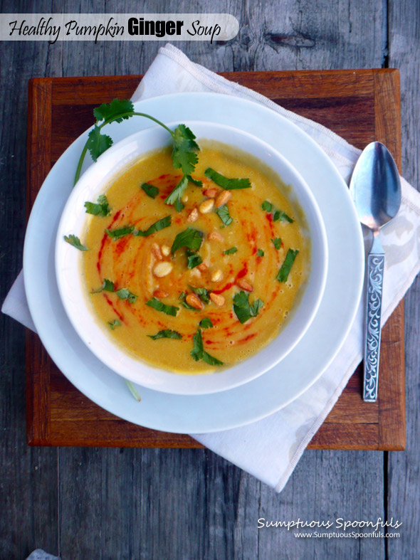 Healthy Pumpkin Ginger Soup with Sriracha ~ Sumptuous Spoonfuls #gf #soup #recipe
