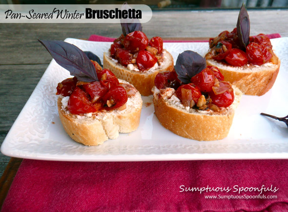 Pan Seared Winter Bruschetta with Goat Cheese
