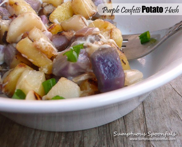 Purple Confetti Potato Hash ~ Sumptuous Spoonfuls #potato #recipe