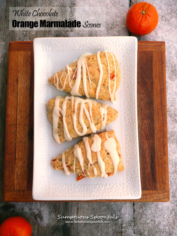 White Chocolate Orange Marmalade Scones ~ Sumptuous Spoonfuls #scones #recipe