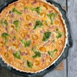 Ham & Broccoli Quiche Romesco ~ Sumptuous Spoonfuls #quiche #recipe