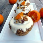 Jack Daniels Kumquat Walnut Muffins w Heavenly Cream Cheese Frosting ~ Sumptuous Spoonfuls #healthy #cupcake #recipe