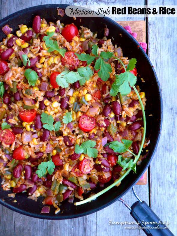 Mexican Style Red Beans & Rice  ~ Sumptuous Spoonfuls #skillet #dinner #recipe