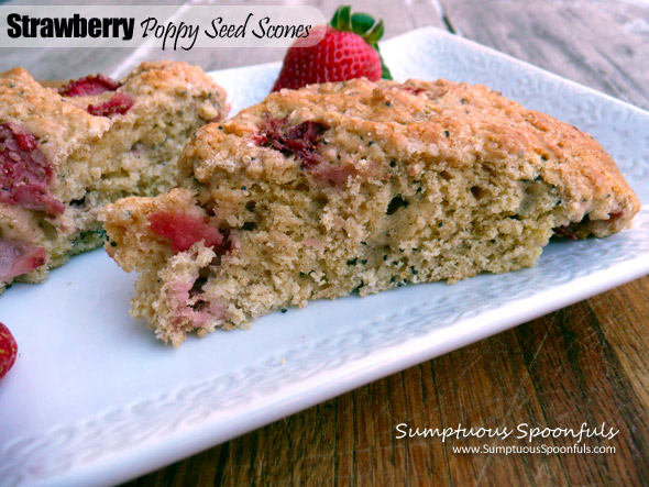 Strawberry Poppy Seed Scones~ Sumptuous Spoonfuls #wholewheat #scones #recipe