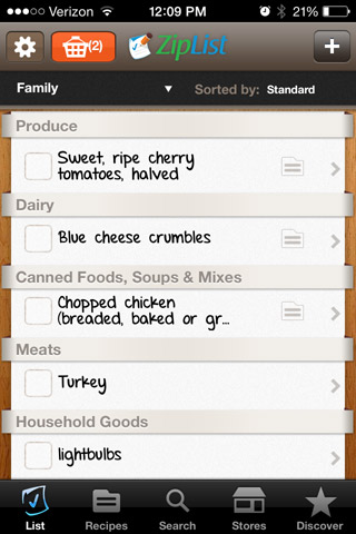 My Ziplist Shopping List on my iPhone