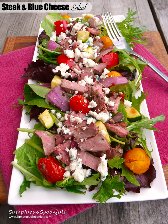 Steak & Blue Cheese Salad with Roasted Vegetables ~ Sumptuous Spoonfuls #healthy #quick #dinner #salad #recipe