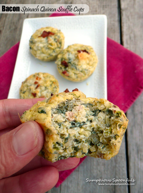 Bacon Spinach Quinoa Souffle Cups ~ Sumptuous Spoonfuls #healthy #bacon #breakfast #recipe
