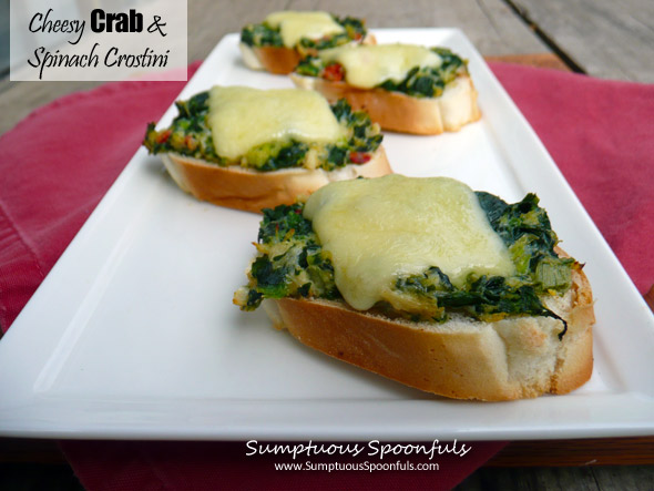 Cheesy Crab & Spinach Crostini