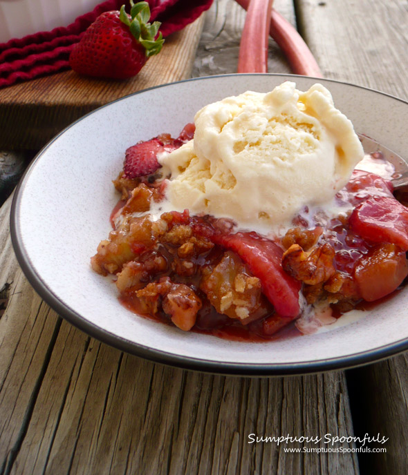 Nutty Strawberry Rhubarb Crisp ~ Sumptuous Spoonfuls #rhubarb #dessert ...