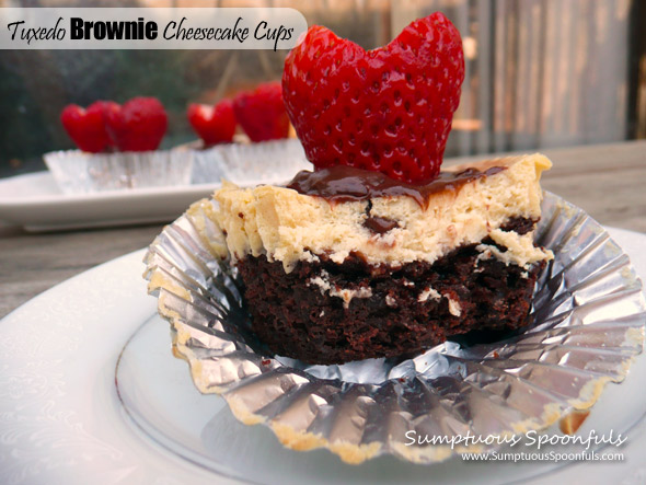 Tuxedo Brownie Cheesecake Cups ~ Sumptuous Spoonfuls #brownie #cheesecake #chocolate #dessert #recipe