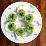 Asparagus Avocado Deviled Eggs ~ Sumptuous Spoonfuls #healthy #GreekYogurt #deviled #eggs #recipe