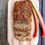 Light Rhubarb Pecan Streusel Loaf ~ Sumptuous Spoonfuls #wholegrain #lowfat #rhubarb #bread #recipe