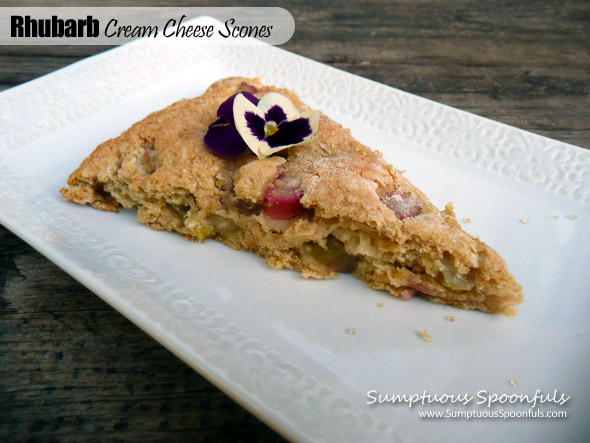 Rhubarb Cream Cheese Scones ~ Sumptuous Spoonfuls #rhubarb #scone #recipe