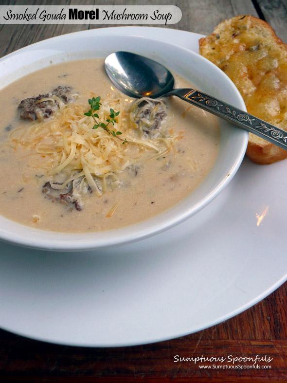 Smoked Gouda Morel Mushroom Soup ~ Sumptuous Spoonfuls #mushroom #cheese #soup #recipe