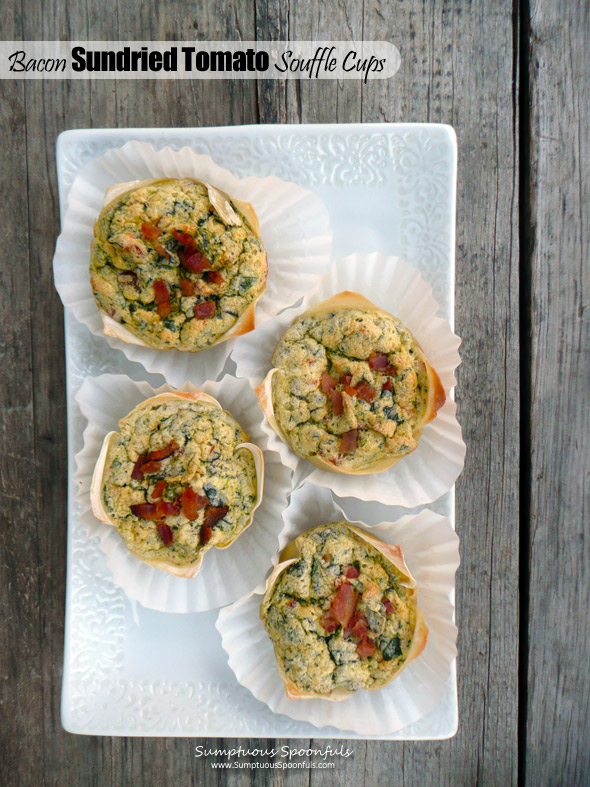 Bacon Sundried Tomato Souffle Cups ~ Sumptuous Spoonfuls #easy #portable #souffle #breakfast #recipe