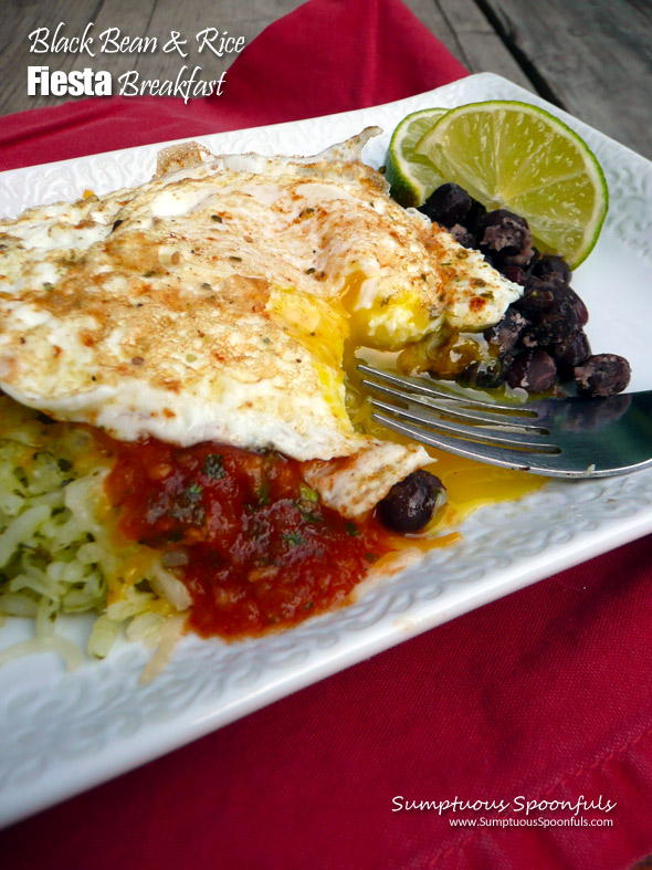 Black Bean & Rice Fiesta Breakfast ~ Sumptuous Spoonfuls #hearty #easy #meatless #breakfast #recipe
