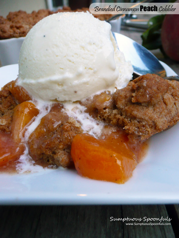 Brandied Cinnamon Peach Cobbler ~ Sumptuous Spoonfuls #peach #cobbler #recipe