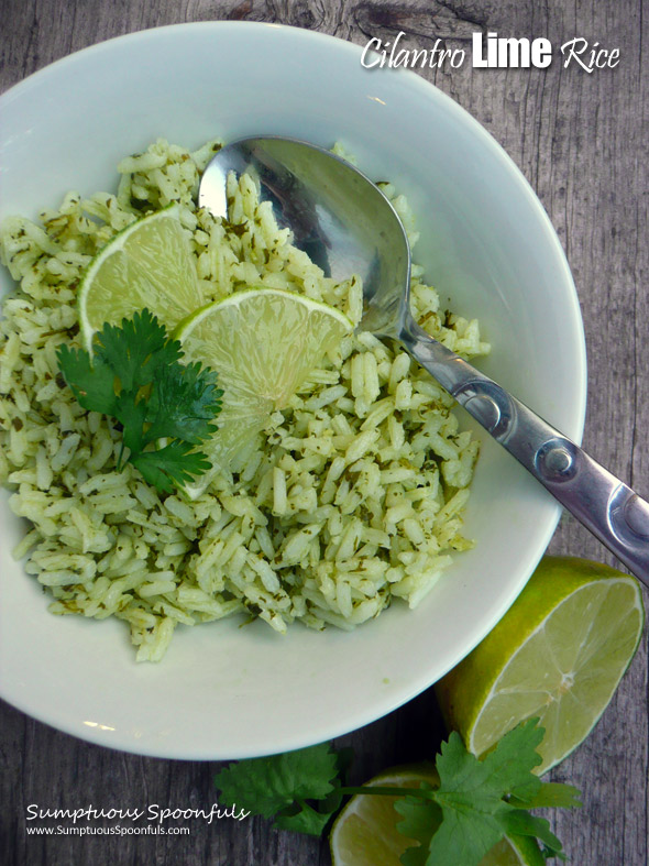 Cilantro Lime Rice ~ Sumptuous Spoonfuls #sidedish #cilantro #rice #recipe