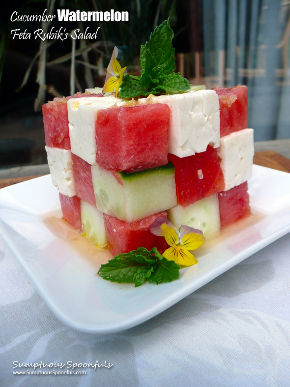 Cucumber Watermelon Feta Rubik's Salad