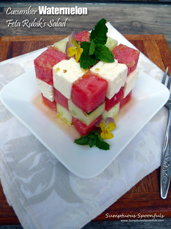 Cucumber Watermelon Feta Rubik's Cube Salad with Maple Ginger Champagne Vinaigrette ~ Sumptuous Spoonfuls #watermelon #RubiksCube #puzzle #salad