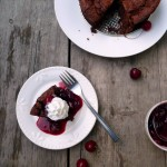 Flourless Black Forest Brownie Cake ~ Sumptuous Spoonfuls #flourless #brownie #cherry #cake #recipe