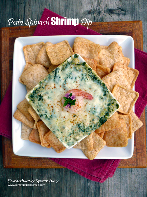 Pesto Spinach Shrimp Dip ~ Sumptuous Spoonfuls #lowfat #greekyogurt #cheesy #shrimp #dip