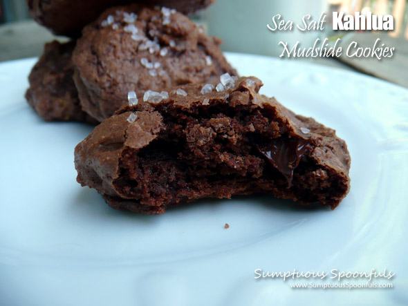 Sea Salt Kahlua Mudslide Cookies ~ Sumptuous Spoonfuls #decadent #lowfat #chocolate #cookie #recipe