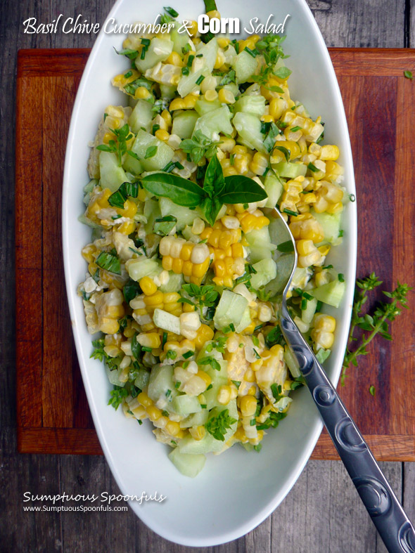 ... Corn Salad ~ Sumptuous Spoonfuls #cucumber #corn #basil #salad #recipe
