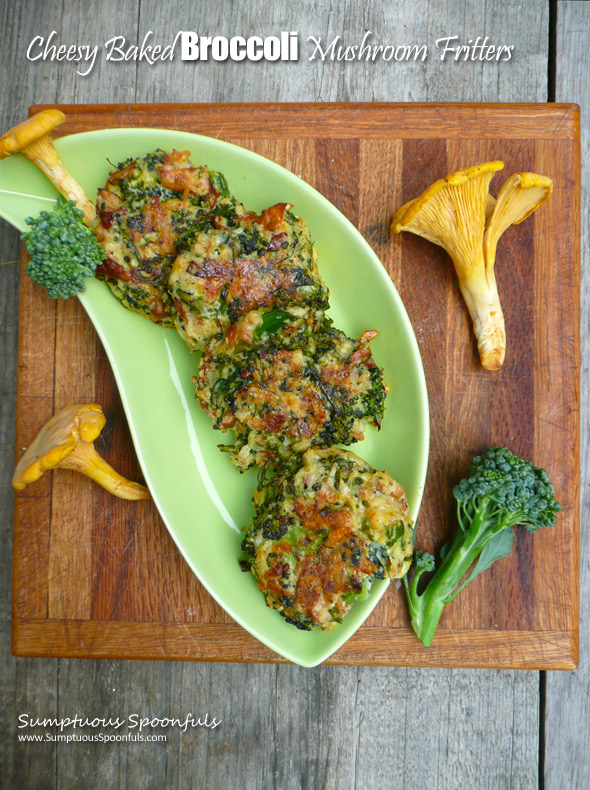 Cheesy Baked Broccoli Mushroom Fritters ~ Sumptuous Spoonfuls #broccoli #mushroom #recipe