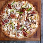 Chicken Bacon Apple Fig Pizza with Goat Cheese & Maple Balsamic Drizzle ~ Sumptuous Spoonfuls #easy #thincrust #pizza #recipe