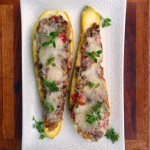 Mediterranean Beef Stuffed Summer Squash ~ Sumptuous Spoonfuls #stuffed #summer #squash #recipe