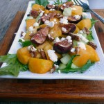 Watermelon Cucumber Salad with Balsamic Roasted Figs, Goat Cheese & Pecans ~ Sumptuous Spoonfuls #watermelon #fig #salad #recipe