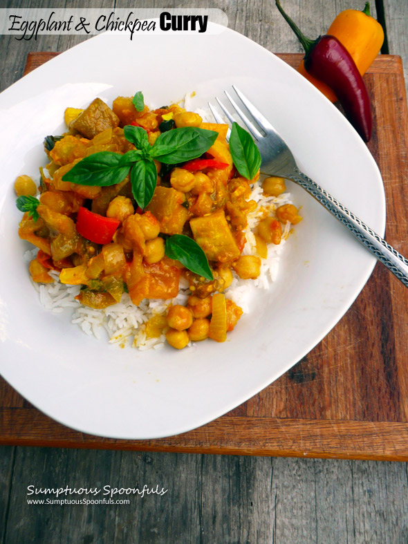 Eggplant & Chickpea Curry ~ Sumptuous Spoonfuls #hearty #vegetarian #dinner #recipe #glutenfree