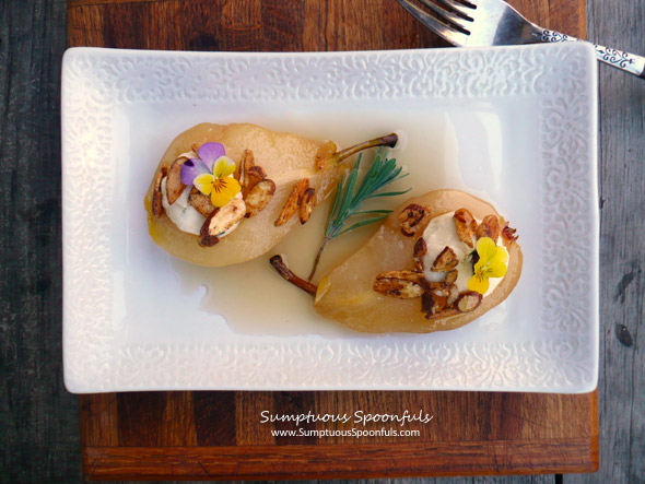 Honey Lavender White Wine Poached Pears