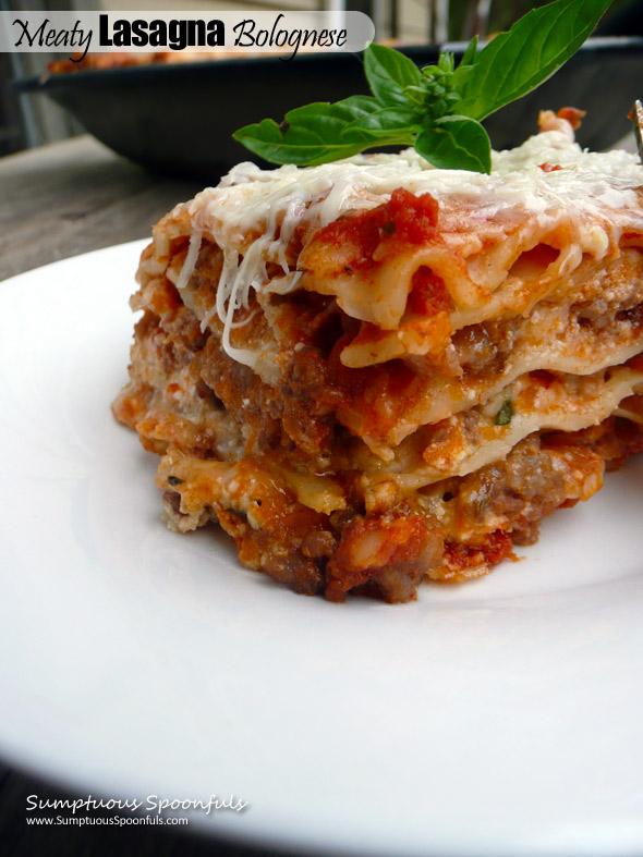 Meaty Lasagna Bolognese ~ Sumptuous Spoonfuls #lasagna #recipe