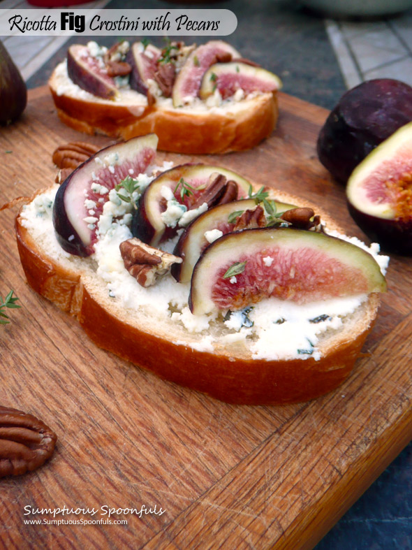 Ricotta Fig Crostini with Pecans & Gorgonzola ~ Sumptuous Spoonfuls #cheesy #fig #appetizer #recipe