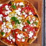 Tomato Goat Cheese Tortizza ~ Sumptuous Spoonfuls #easy #dinner #fresh #pizza #recipe