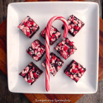 Easy Peppermint Fudge ~ Sumptuous Spoonfuls #simple #peppermint #chocolate #fudge #holiday #candy #recipe