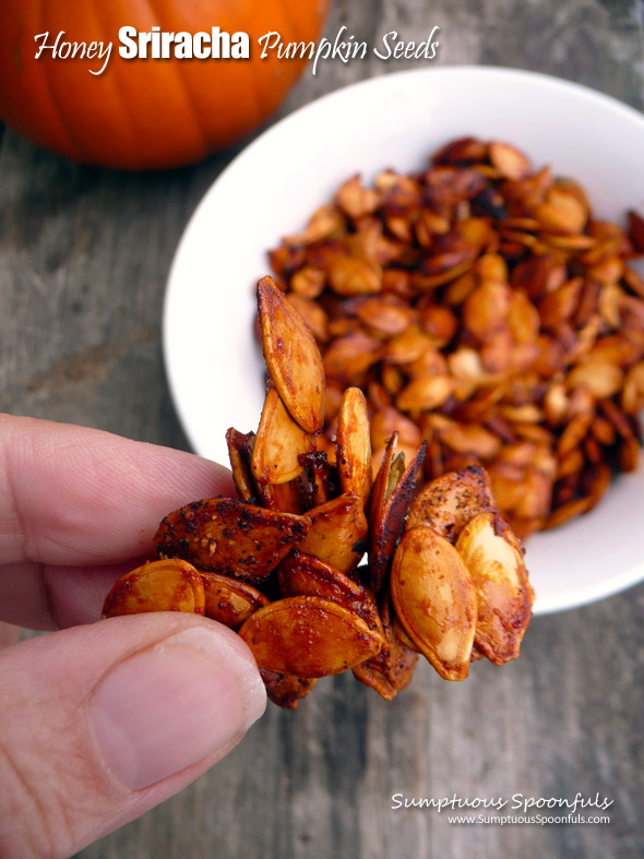 Honey Sriracha Roasted Pumpkin Seeds ~ Sumptuous Spoonfuls #easy #spicy #sweet #roasted #pumpkin #seeds #recipe