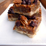 Chocolate Caramel Pecan Bars ~ Sumptuous Spoonfuls #dulcedeleche #pecan #bars #recipe