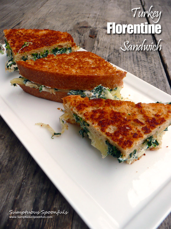 Toasted Turkey Florentine Sandwich ~ Sumptuous Spoonfuls #hot #cheesy #grilled #turkey #sandwich with #spinach & #sundriedtomato
