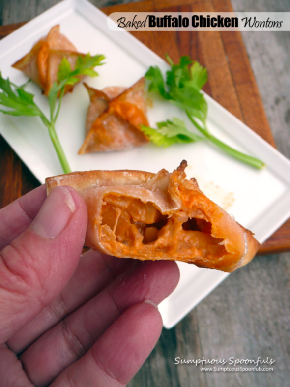 Baked Buffalo Chicken Wontons ~ Sumptuous Spoonfuls #buffalochicken #appetizer #recipe