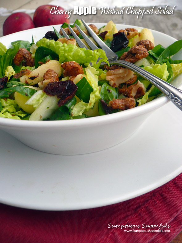 Cherry Apple Walnut Chopped Salad ~ Sumptuous Spoonfuls #light #winter #salad #recipe