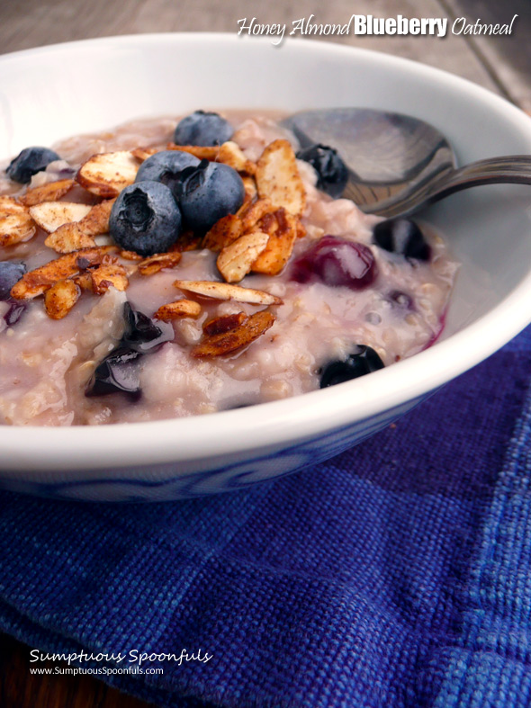 Honey Almond Blueberry Oatmeal ~ Sumptuous Spoonfuls #healthy #quick #hot #blueberry #breakfast #recipe