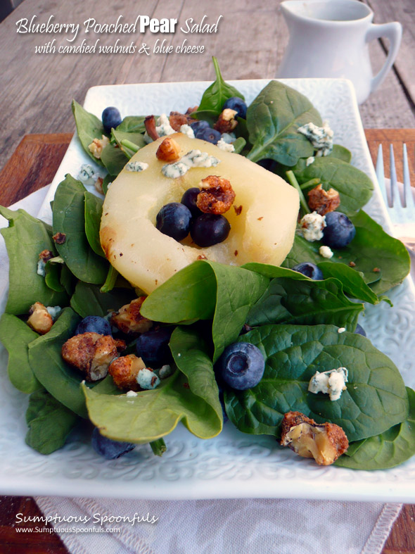 Blueberry Poached Pear Salad with Candied Walnuts, Blue Cheese & a Raspberry Malbec Vinaigrette ~ Sumptuous Spoonfuls #gourmet #pear #salad #recipe
