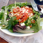 Candied Ginger Orange Salad with Feta, Pinons & a Maple Orange Ginger Yogurt Dressing